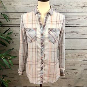 BDG Distressed Chambray Flannel Button Down Shirt